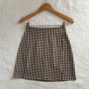 NWT Brandy Melville brown white plaid Cara skirt